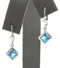 2.40 Carat Natural Swiss Topaz in 14K Solid White Gold Hook Earrings