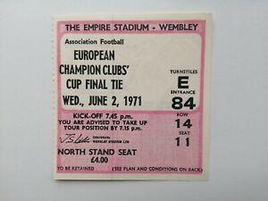 Ticket: 1971 European Cup Final. Ajax v Panathinaikos. @ Wembley. excellent