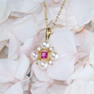 White Round Freshwater Pearl with Rubellite Tourmaline & Zircon & 18K Gold