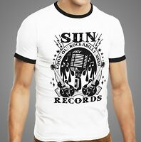 Sun Records Rockabilly Music Vintage Men Ringer T-shirt