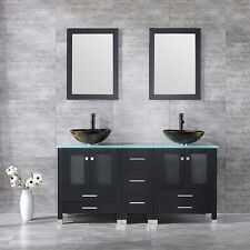 "Black 60.6"" Bathroom Vanity Cabinets Solid Wood w/ Vessel Sink/Glass Top/Mirror"