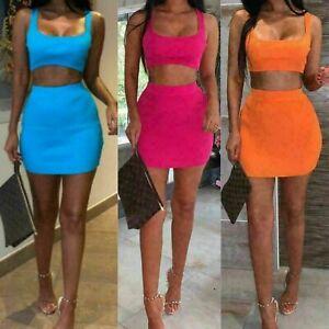 Ladies Summer Mini Skirt Crop Top 2 Piece Set Dress Womens Co ord Bodycon