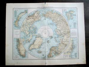 Antique map. NORTH POLE. NORTH POLAR REGION. c 1896