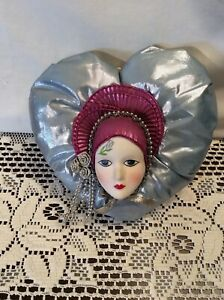 Ceramic Face Mask on Heart Shaped Pillow Wall Decor Mardi Gras