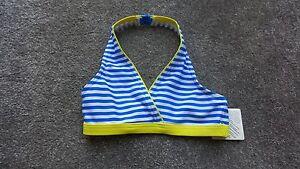 John Lewis Girls Striped Blue Swimwear Bikini Top Age 4,5,6 Brand New RRP £7