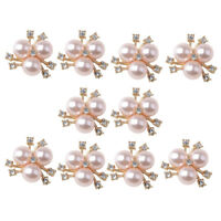 Lot Rhinestone Alloy Buttons Wedding Decor Pearl Embellishments Flatback DIY