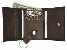Genuine Leather Men's Key Holder Accessory 6 Key Chain Wallet Case Brown