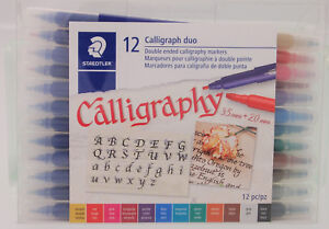 Staedtler Calligraph Duo 12 Double Ended Calligraphy Pen Set 3.5mm & 2.0mm Tips