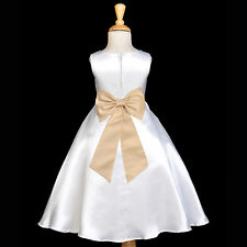 WHITE EASTER COMMUNION TEA-LENGTH TIEBOW SASH FLOWER GIRL DRESS WEDDING CHILDREN