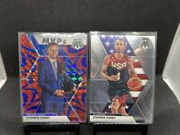 2019-20 Panini Mosaic Steph Curry MVP Blue Reactive Prizm SP + USA Base 🐐