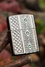 Zippo Lighter - Elegant Diamonds Deep Carved Armor Case Swarovski Crystals 24095