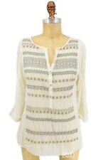Anthropologie Tiny Embroidered Silk Henley Top Medium M Metallic Gold Boho Aztec
