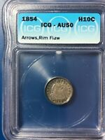 1854 With Arrows Silver Seated Liberty Half Dime ICG AU 50 Type 3 Coin