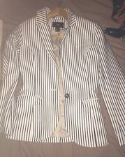 H&M Black And White Striped Blazer In Size 8 UK