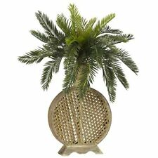 Nearly Natural 6663 Cycas with Vase Decorative Silk Plant- Green New
