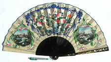 Huge Antique Chinese Cantonese Macao School Export Lacquered Painted Fan 清� 1850