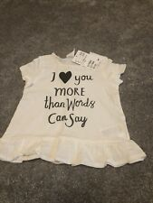 H&M Baby Girl White Slogan Top - Size 6-9 Months