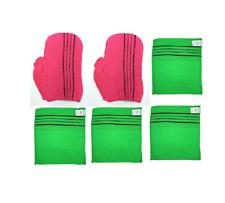 Korean Exfoliating Towel Body Scrub Cloth Bath Massage Gloves 6PCS Made in Korea