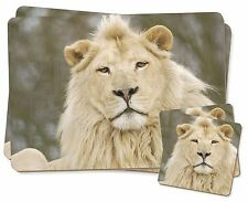 White Lion Twin 2x Placemats+2x Coasters Set in Gift Box, AT-45PC