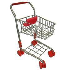 Kinder Metall Einkaufswagen Einkaufskorb klappbar Silber mit Puppen-Sitz Neu