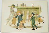 Kate Greenaway AN ACCIDENT Victorian Scene Outside of Baker Shop Postcard J10
