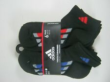 Adidas Youth Socks Low Cut 3Y-9 Cushioned 6 Pairs Black Moisture Wicking