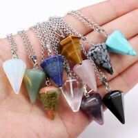 Various Stone Agate Crystal Turquoise Hexagonal Cone Pendant Necklace Jewelry