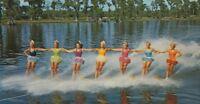 CE-146 FL, Cypress Gardens Aqua Maids Chrome Postcard Florida water Skiing