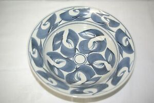 """Large Handpainted Oriental Pottery 11.5"""" Bowl"""