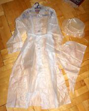PVC Vinyl Regenmantel Mantel Größe XL mit Kappe und Tuch UNBENUTZT GCCL vintage