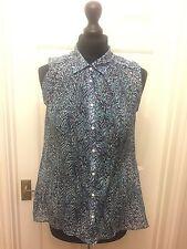 H&M ladies blue animal print sleeveless light weight summer blouse top UK 8
