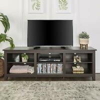 "70"" Wood Media TV Stand Storage Console - Charcoal New"