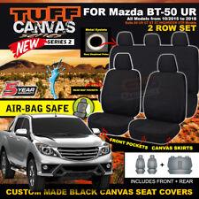BLACK TUFF CANVAS Mazda BT-50 UR Dual Cab Seat Covers F+R XT XTR 10/2015-19 BT50