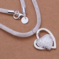 Silber Mode Doppel Herz Halskette Halsreif Damen Mädchen Schmuck- L0I6
