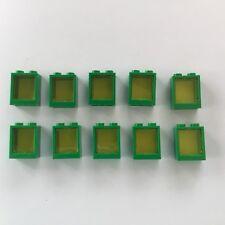 10 Lego Fenster mit Glas 1x2x2 grün transparent gelb NEU 60592 60601