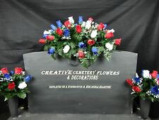Memorial Cemetery Silk Flower Headstone/Tombstone Saddle + Matching Vase Bushes