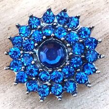 Beautiful Blue Flower Interchangeable Snap Button Noosa 18mm for snap jewelry