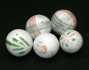 Antique Handmade China Marble Grouping (5) -- Nice Designs!