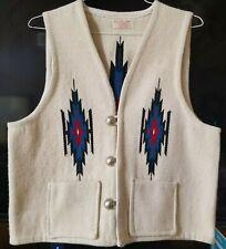 CHIMAYO Mens Vest, made byTRUJILLO'S WEAVING SHOP, Ivory, Wool, USA, XL
