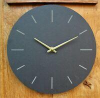 Wall Clock Grey natural Slate Garden Indoor Outdoor Hand Finished clock 25cm