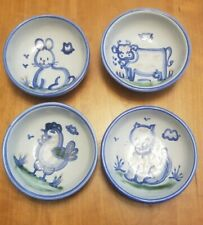 "Set of 4 MARY HADLEY Folk Art Farm Animal  5.5"" Small Bowls!"