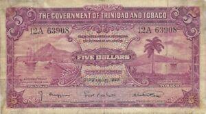 1939 TRINIDAD & TOBAGO 5 DOLLARS ~ P-7b ~ VERY SCARCE TYPE NICE FRESH VERY FINE