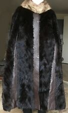 Luxurious Vintage MINK COAT (fur cape, full length) with brown leather strips