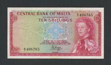 More details for malta  10 sh 1968 qeii  krause 28  good ef banknotes