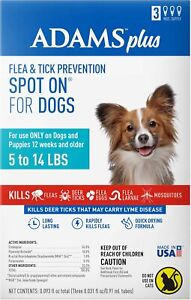 (3 Month Supply) Adams Flea and Tick Spot On for Toy Dogs 5-14 Pounds | Refill,