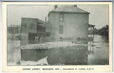 OHIO Columbus FLOOD of March 25 1913 HOUSE UPSET RODGERS AVENUE Vintage Photo PC