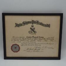 Framed Certificate Fraternity Alpha Sigma Phi 1950 Vintage
