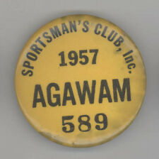 Rare 1957 HUNTING BADGE License AGAWAM MASSACHUSETTS Sportsman's Club GUNS Hunt