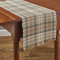 """Park Designs GENTRY 13""""x 54"""" Table Runner - Taupe Gray, Tan, Red, Cream Plaid"""