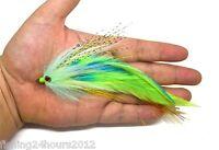 """6"""" Trout Salmon Steelhead Pike Fly Fishing Streamer Flies Green NEW"""